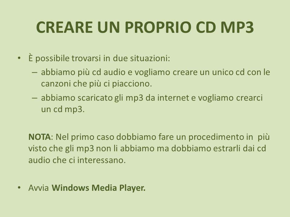 CREARE UN PROPRIO CD MP3 È possibile trovarsi in due situazioni: