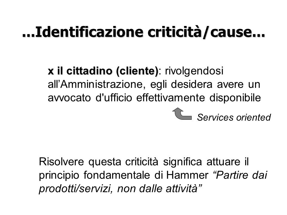 ...Identificazione criticità/cause...