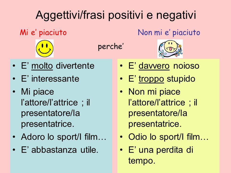 Aggettivi/frasi positivi e negativi