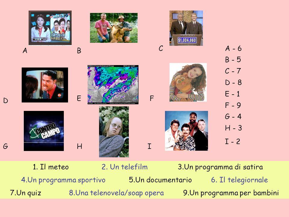 1. Il meteo 2. Un telefilm 3.Un programma di satira