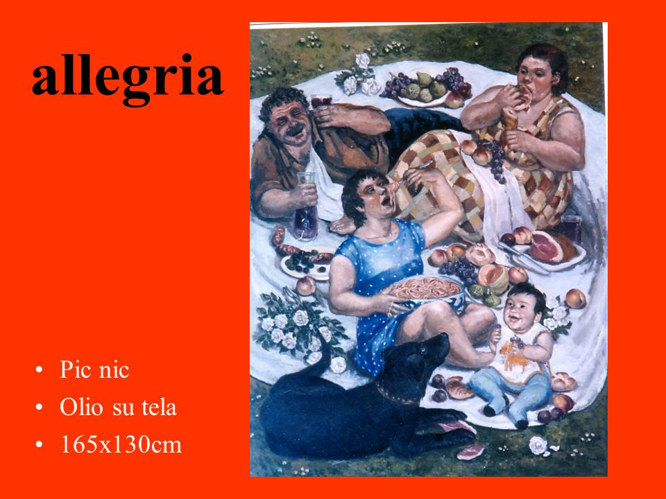 allegria Pic nic Olio su tela 165x130cm yuko tamei