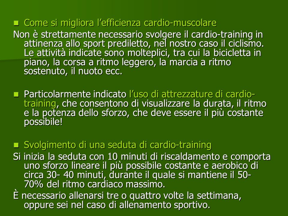 Come si migliora l'efficienza cardio-muscolare