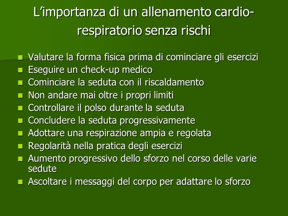 L'importanza di un allenamento cardio-respiratorio senza rischi