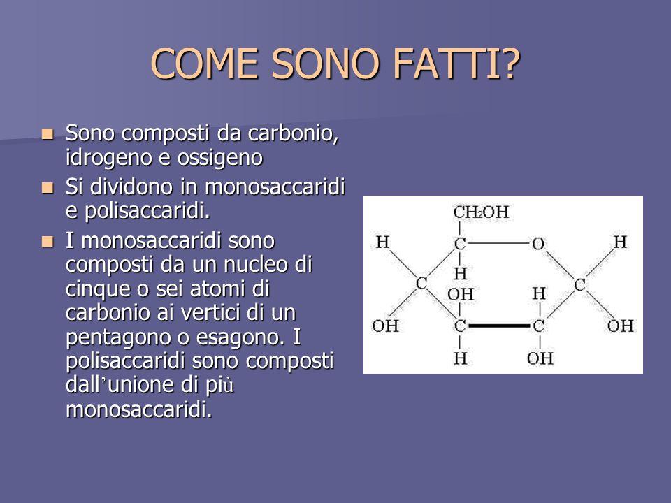 COME SONO FATTI Sono composti da carbonio, idrogeno e ossigeno