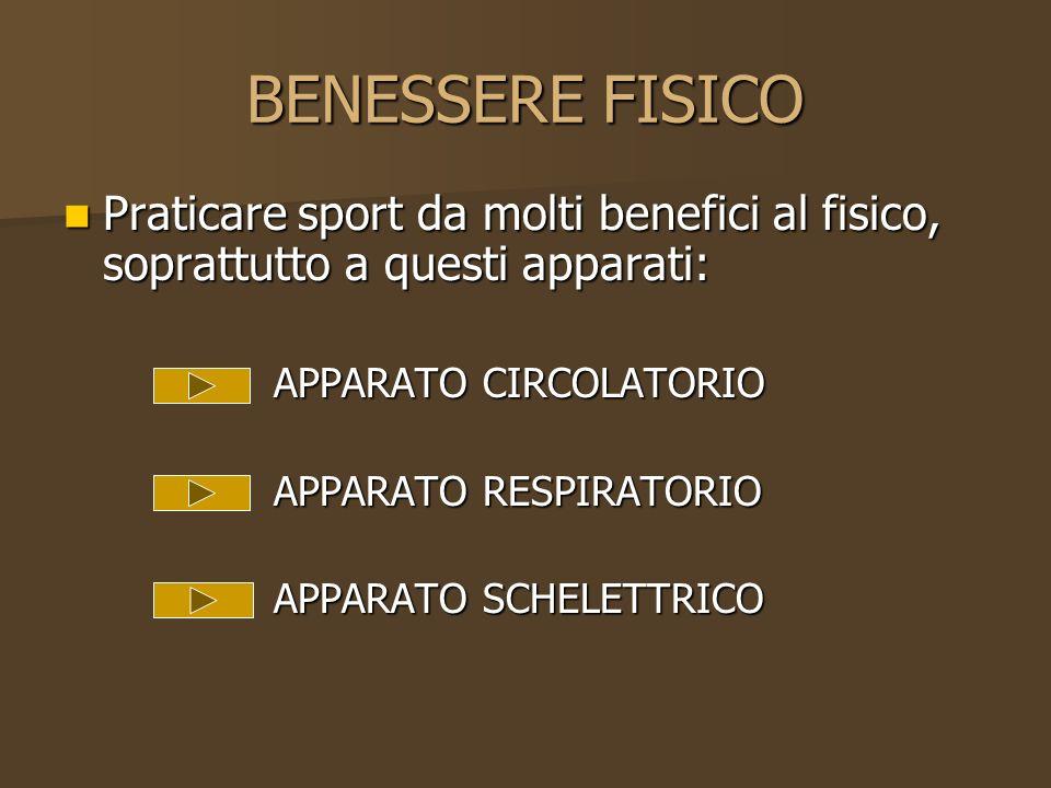 BENESSERE FISICO Praticare sport da molti benefici al fisico, soprattutto a questi apparati: APPARATO CIRCOLATORIO.