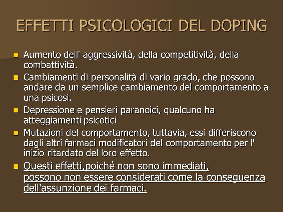 EFFETTI PSICOLOGICI DEL DOPING
