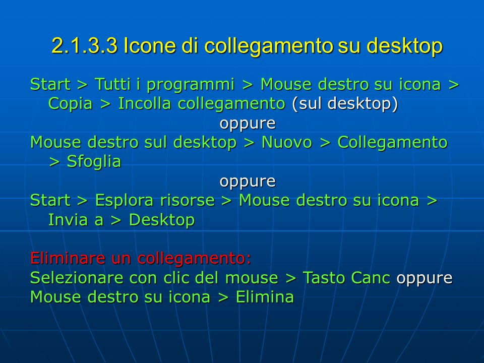 2.1.3.3 Icone di collegamento su desktop