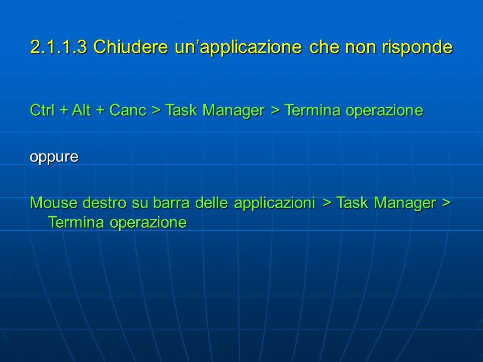 2.1.1.3 Chiudere un'applicazione che non risponde