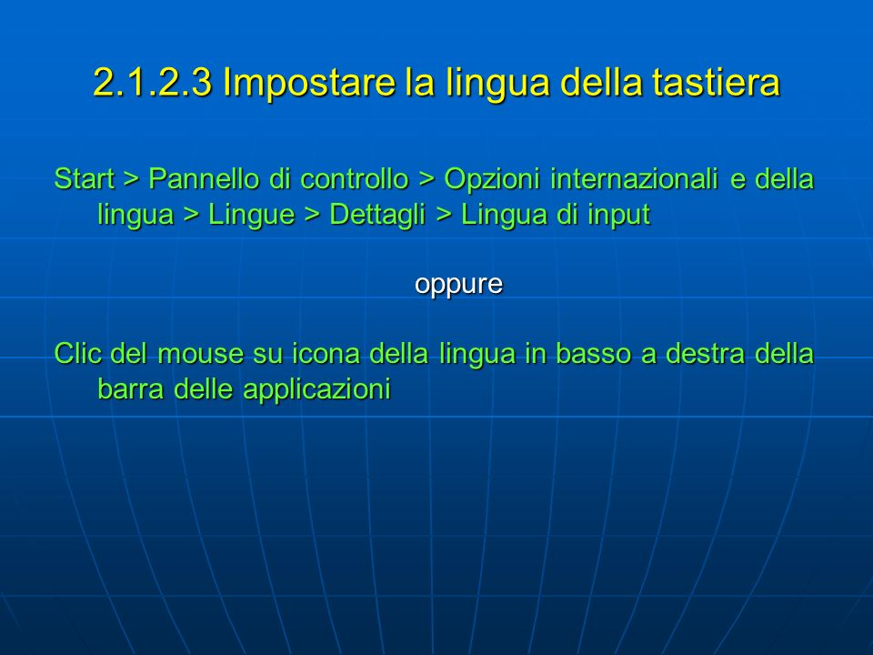 2.1.2.3 Impostare la lingua della tastiera