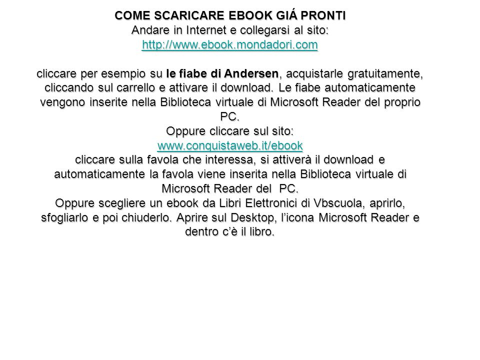 COME SCARICARE EBOOK GIÁ PRONTI