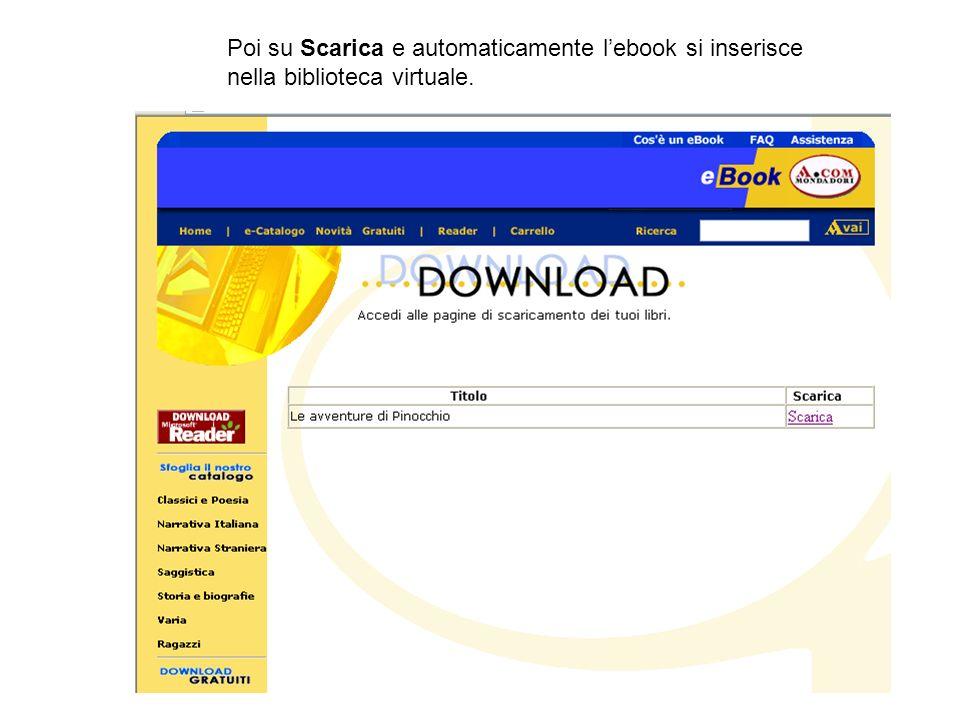 Poi su Scarica e automaticamente l'ebook si inserisce nella biblioteca virtuale.