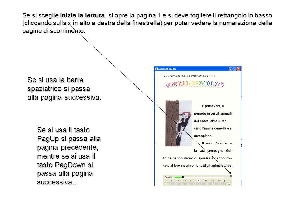 Se si usa la barra spaziatrice si passa alla pagina successiva.