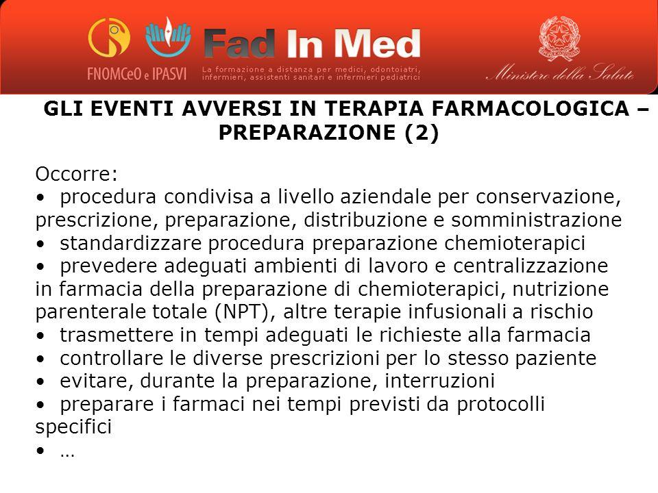 GLI EVENTI AVVERSI IN TERAPIA FARMACOLOGICA – PREPARAZIONE (2)