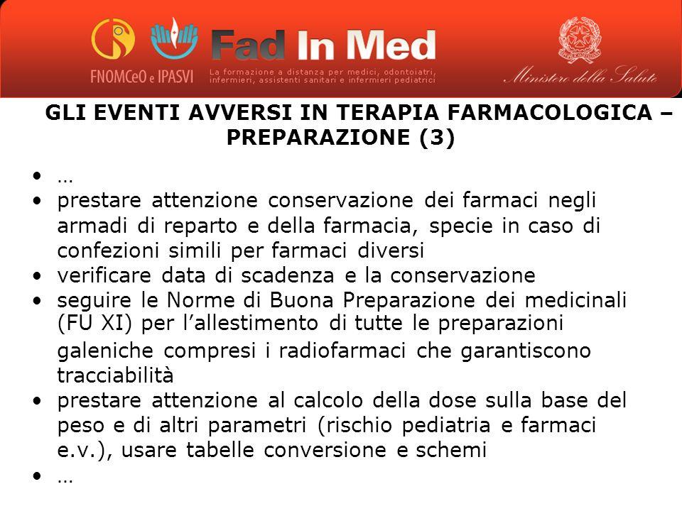 GLI EVENTI AVVERSI IN TERAPIA FARMACOLOGICA – PREPARAZIONE (3)