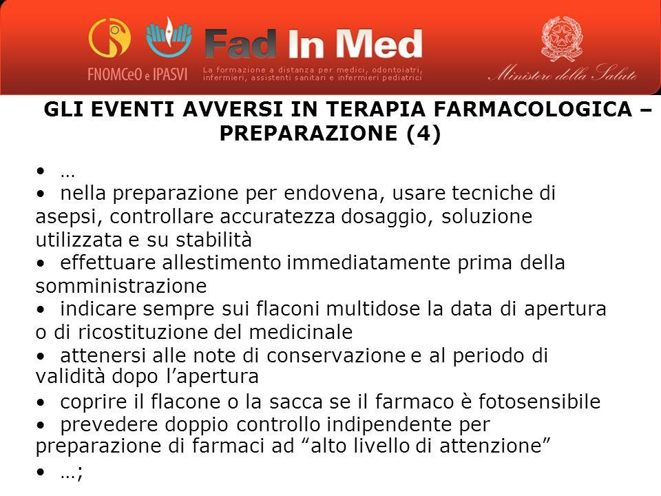 GLI EVENTI AVVERSI IN TERAPIA FARMACOLOGICA – PREPARAZIONE (4)