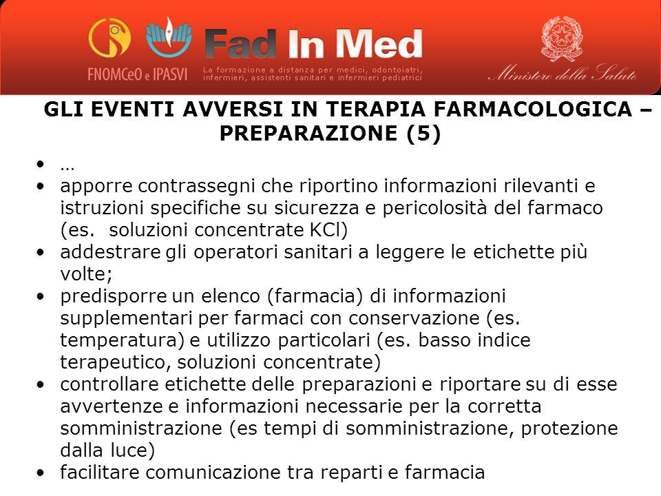 GLI EVENTI AVVERSI IN TERAPIA FARMACOLOGICA – PREPARAZIONE (5)