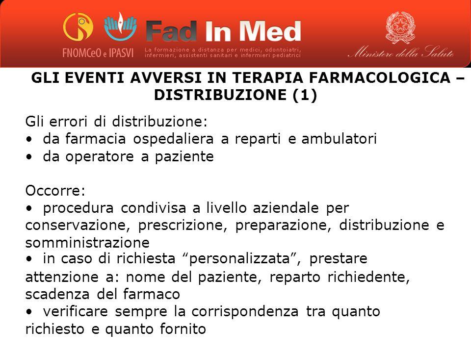 GLI EVENTI AVVERSI IN TERAPIA FARMACOLOGICA – DISTRIBUZIONE (1)