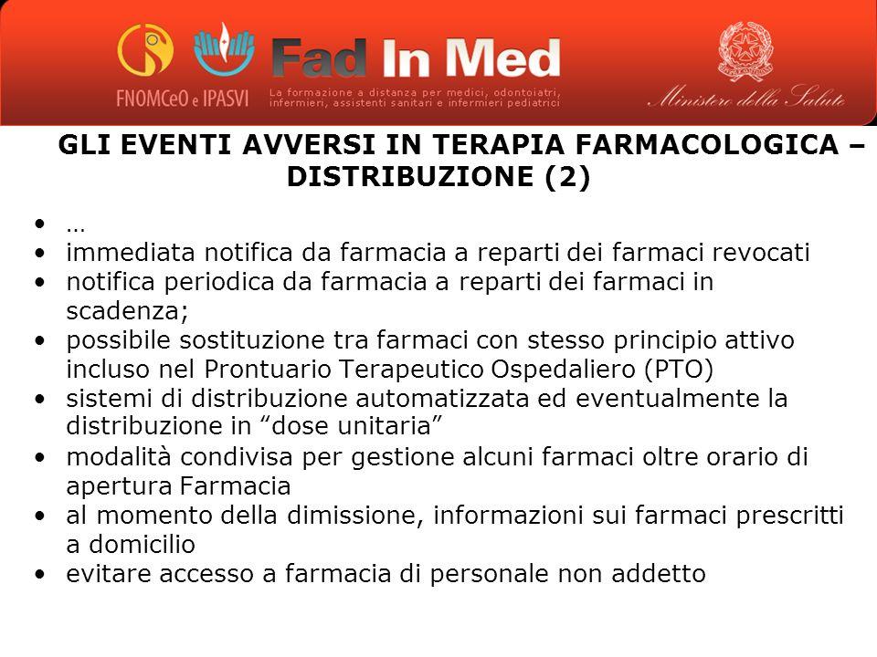 GLI EVENTI AVVERSI IN TERAPIA FARMACOLOGICA – DISTRIBUZIONE (2)
