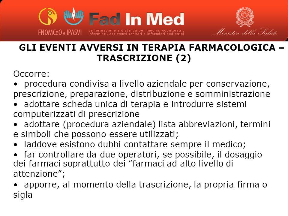 GLI EVENTI AVVERSI IN TERAPIA FARMACOLOGICA – TRASCRIZIONE (2)
