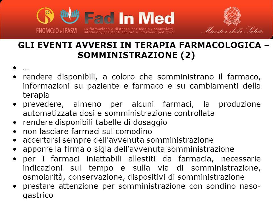 GLI EVENTI AVVERSI IN TERAPIA FARMACOLOGICA – SOMMINISTRAZIONE (2)