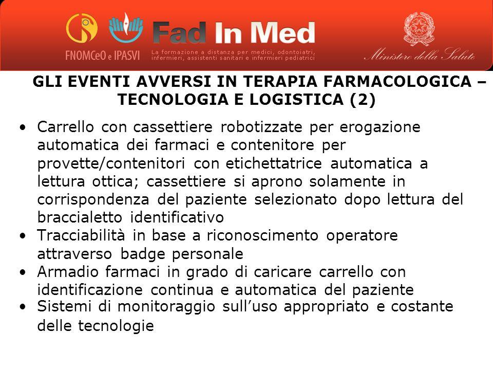 GLI EVENTI AVVERSI IN TERAPIA FARMACOLOGICA – TECNOLOGIA E LOGISTICA (2)