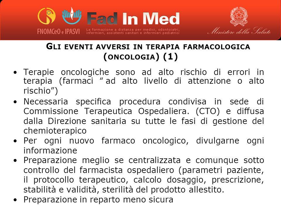 Gli eventi avversi in terapia farmacologica (oncologia) (1)
