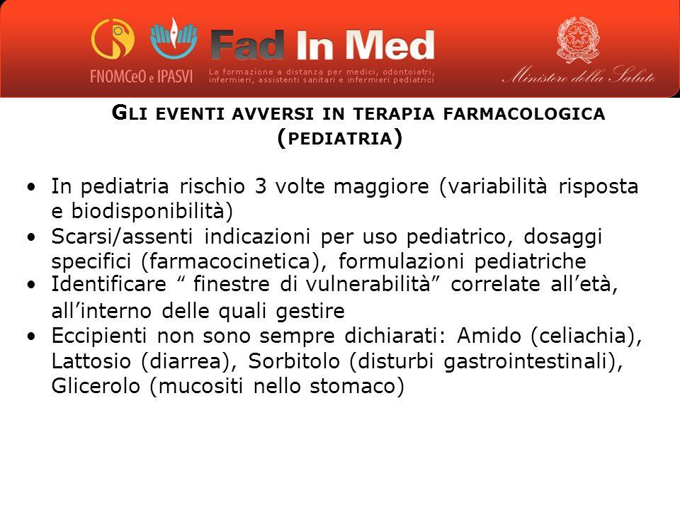 Gli eventi avversi in terapia farmacologica (pediatria)