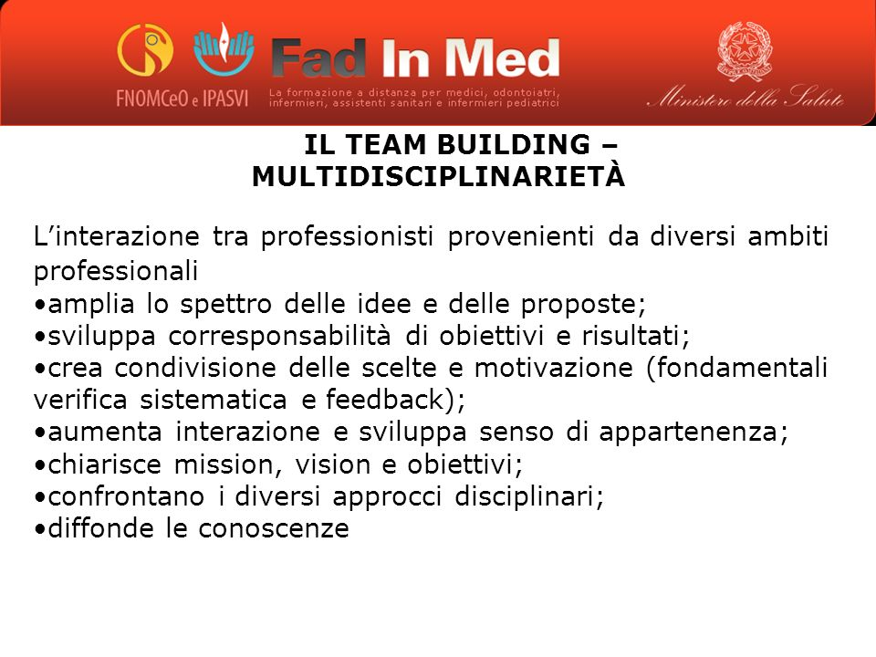 IL TEAM BUILDING – MULTIDISCIPLINARIETÀ