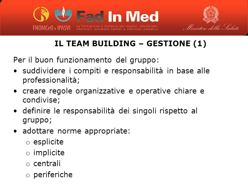 IL TEAM BUILDING – GESTIONE (1)