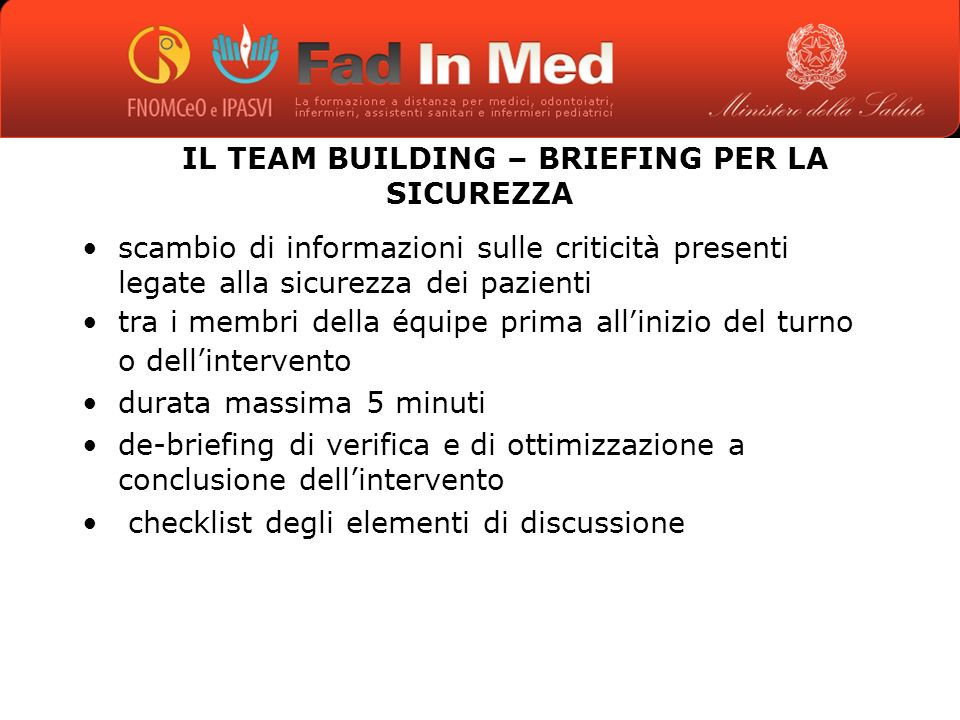 IL TEAM BUILDING – BRIEFING PER LA SICUREZZA