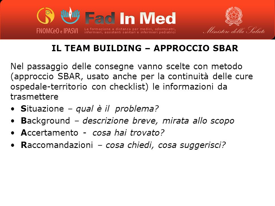 IL TEAM BUILDING – APPROCCIO SBAR