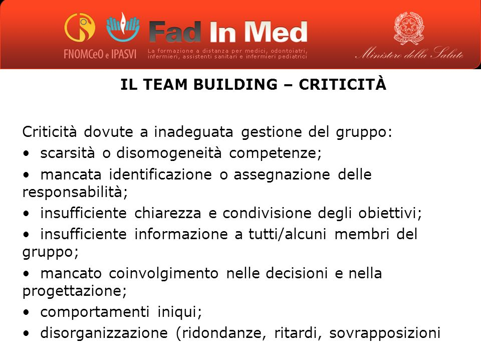 IL TEAM BUILDING – CRITICITÀ