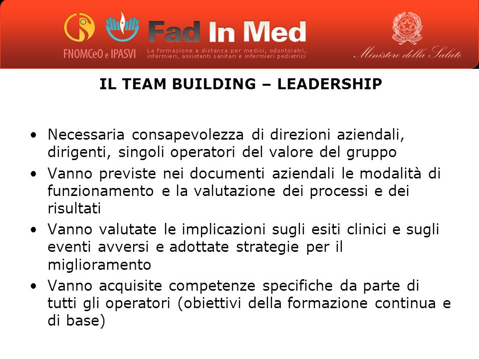 IL TEAM BUILDING – LEADERSHIP