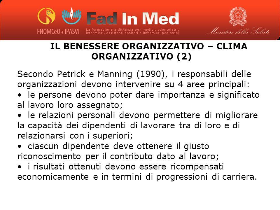 IL BENESSERE ORGANIZZATIVO – CLIMA ORGANIZZATIVO (2)
