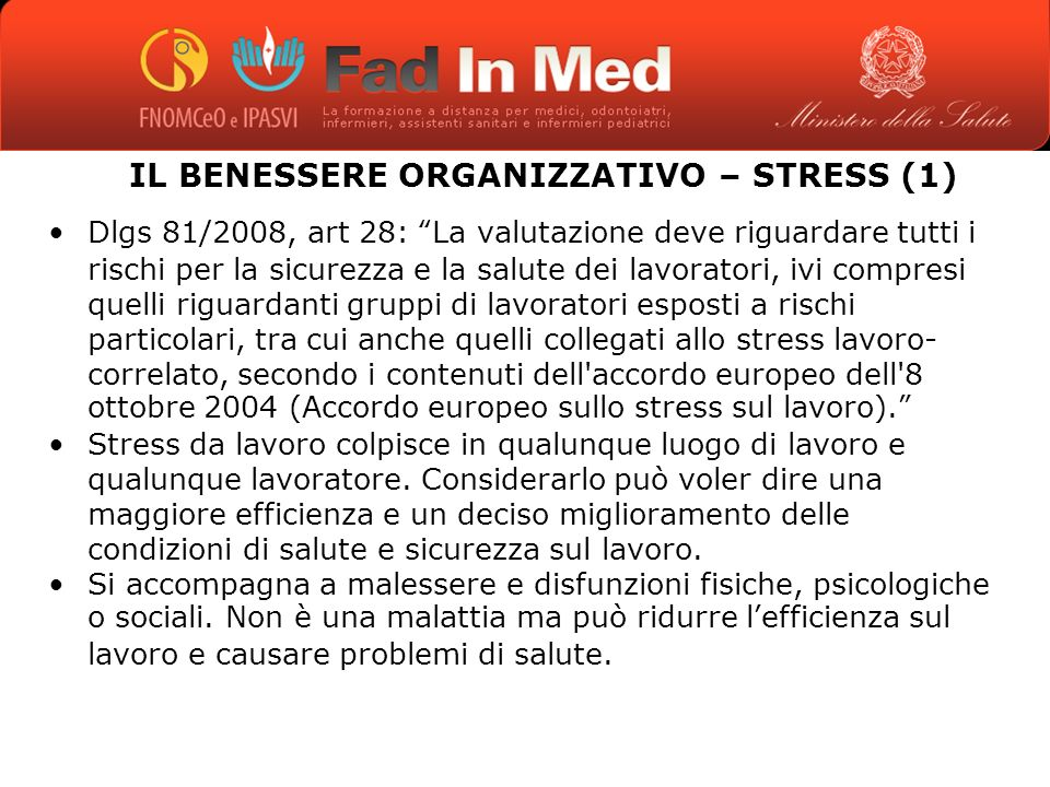 IL BENESSERE ORGANIZZATIVO – STRESS (1)