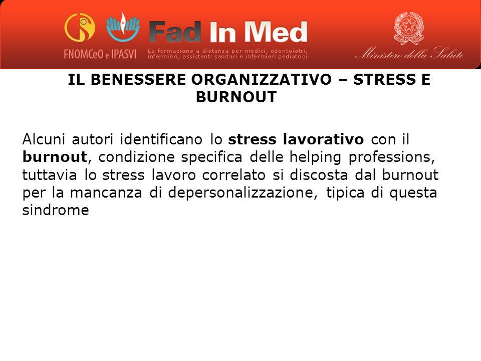 IL BENESSERE ORGANIZZATIVO – STRESS E BURNOUT