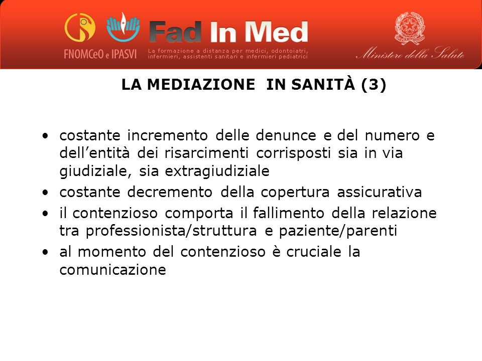 LA MEDIAZIONE IN SANITÀ (3)