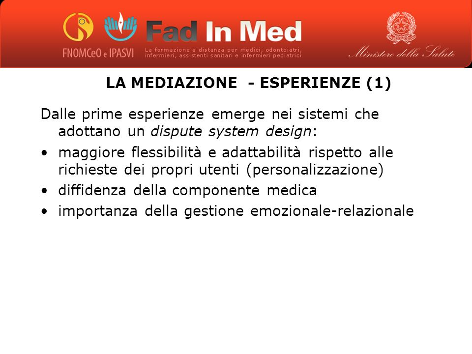 LA MEDIAZIONE - ESPERIENZE (1)