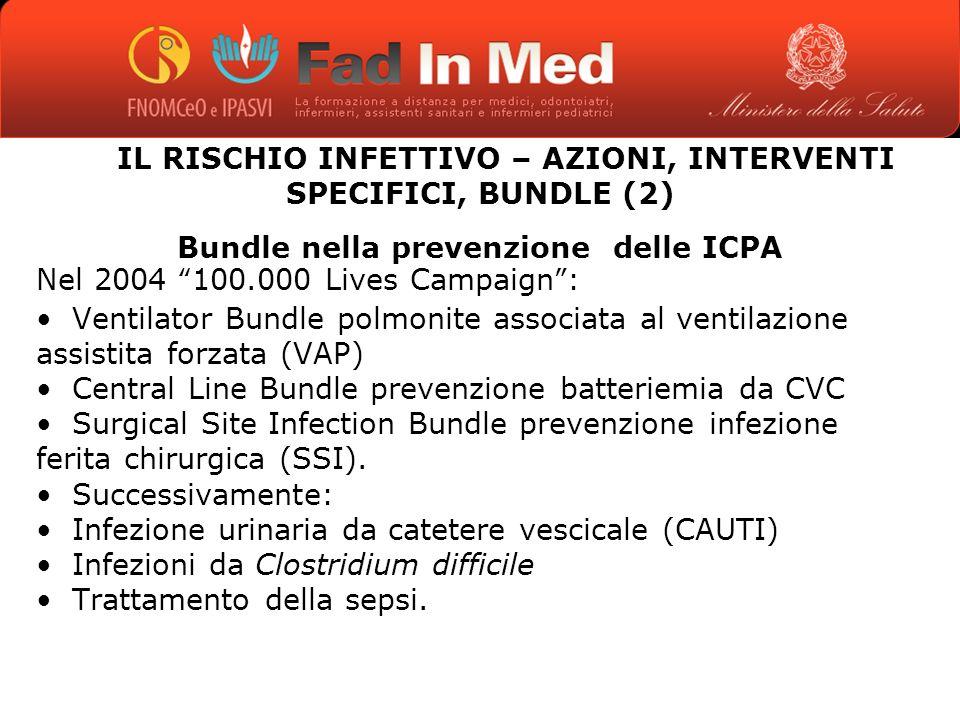 IL RISCHIO INFETTIVO – AZIONI, INTERVENTI SPECIFICI, BUNDLE (2)