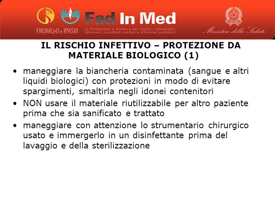 IL RISCHIO INFETTIVO – PROTEZIONE DA MATERIALE BIOLOGICO (1)