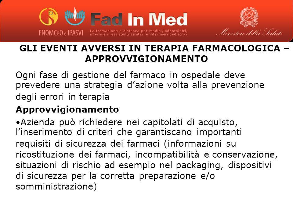 GLI EVENTI AVVERSI IN TERAPIA FARMACOLOGICA – APPROVVIGIONAMENTO