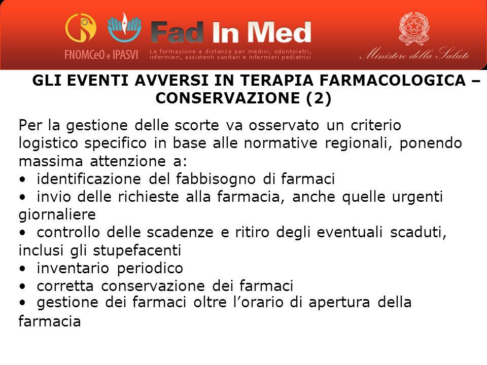 GLI EVENTI AVVERSI IN TERAPIA FARMACOLOGICA – CONSERVAZIONE (2)