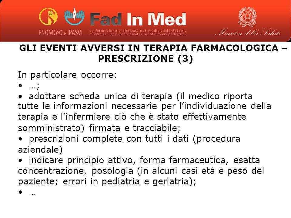 GLI EVENTI AVVERSI IN TERAPIA FARMACOLOGICA – PRESCRIZIONE (3)