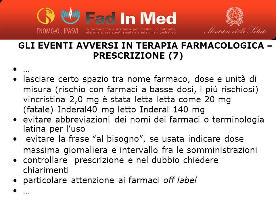 GLI EVENTI AVVERSI IN TERAPIA FARMACOLOGICA – PRESCRIZIONE (7)