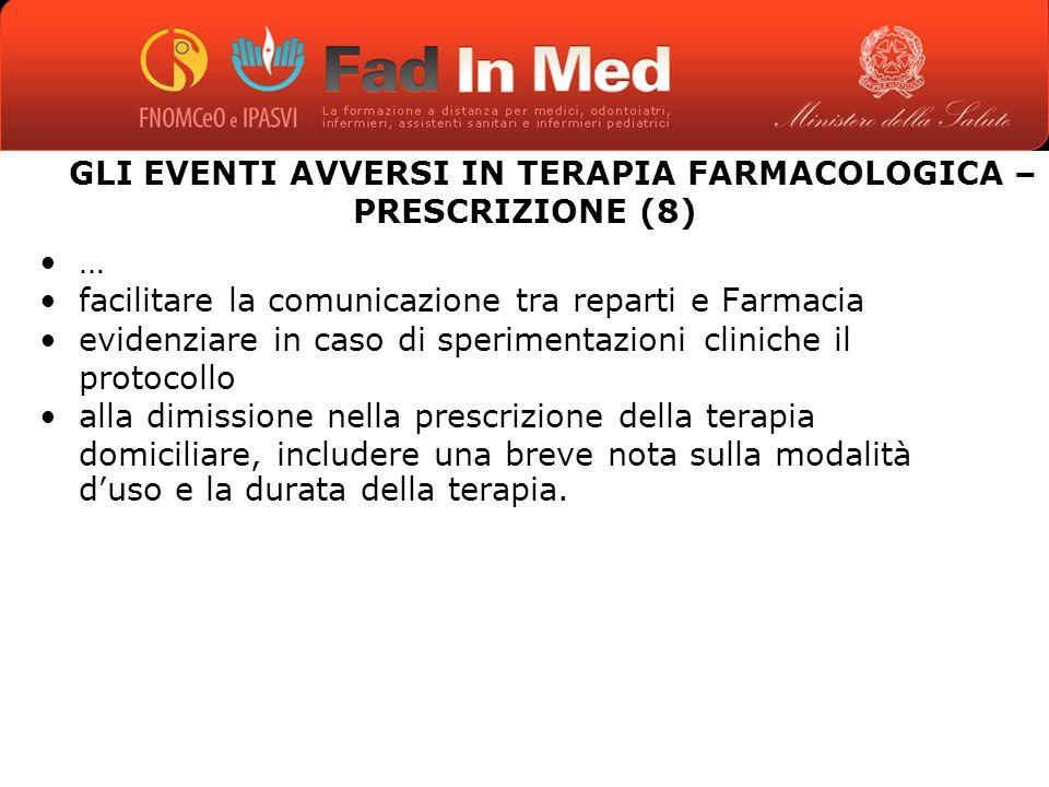 GLI EVENTI AVVERSI IN TERAPIA FARMACOLOGICA – PRESCRIZIONE (8)