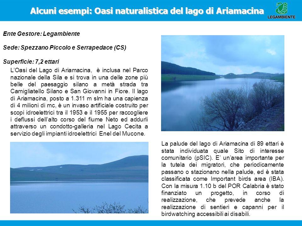 Alcuni esempi: Oasi naturalistica del lago di Ariamacina