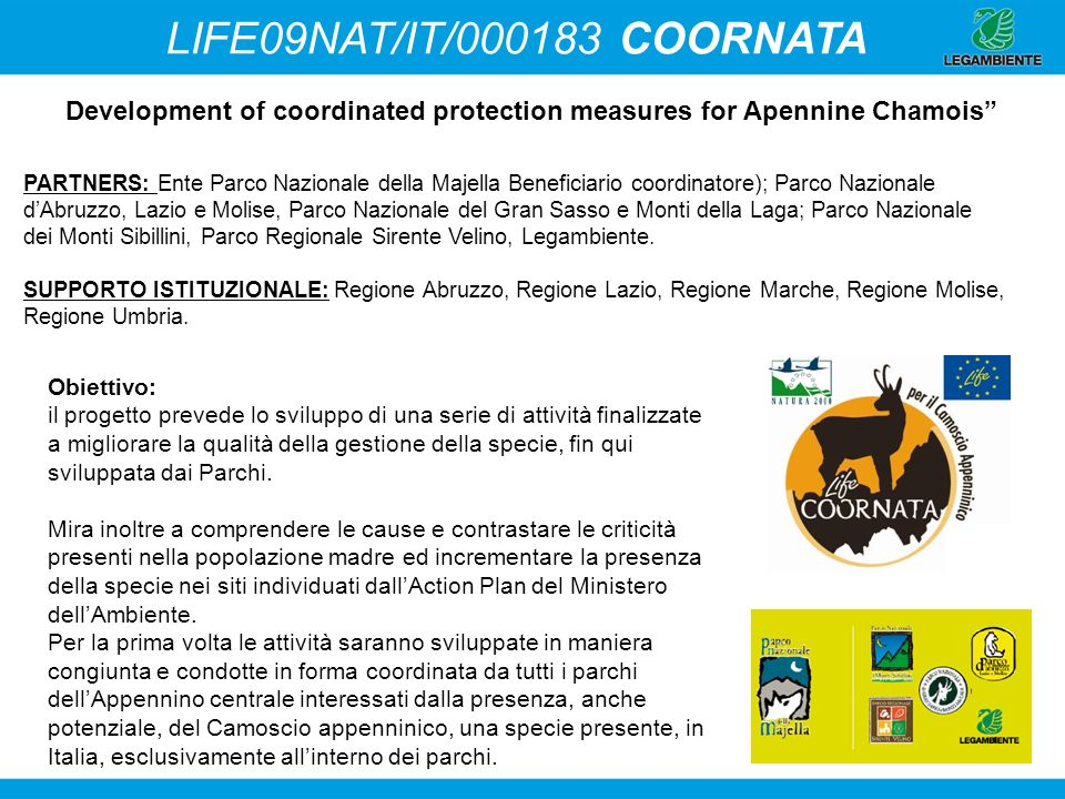 LIFE09NAT/IT/000183 COORNATA Development of coordinated protection measures for Apennine Chamois