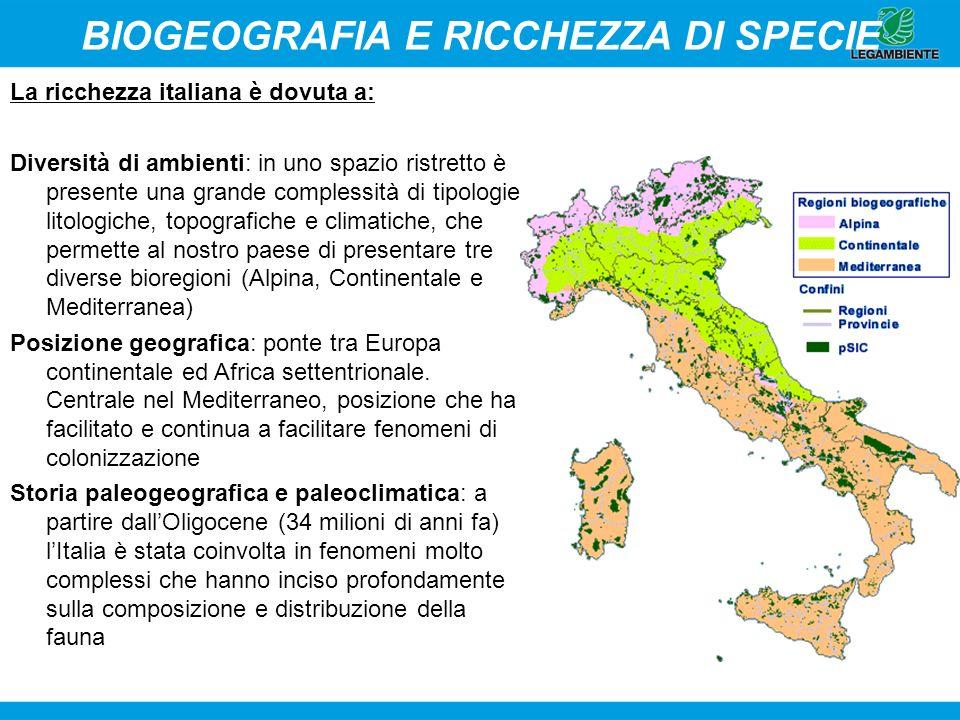 BIOGEOGRAFIA E RICCHEZZA DI SPECIE