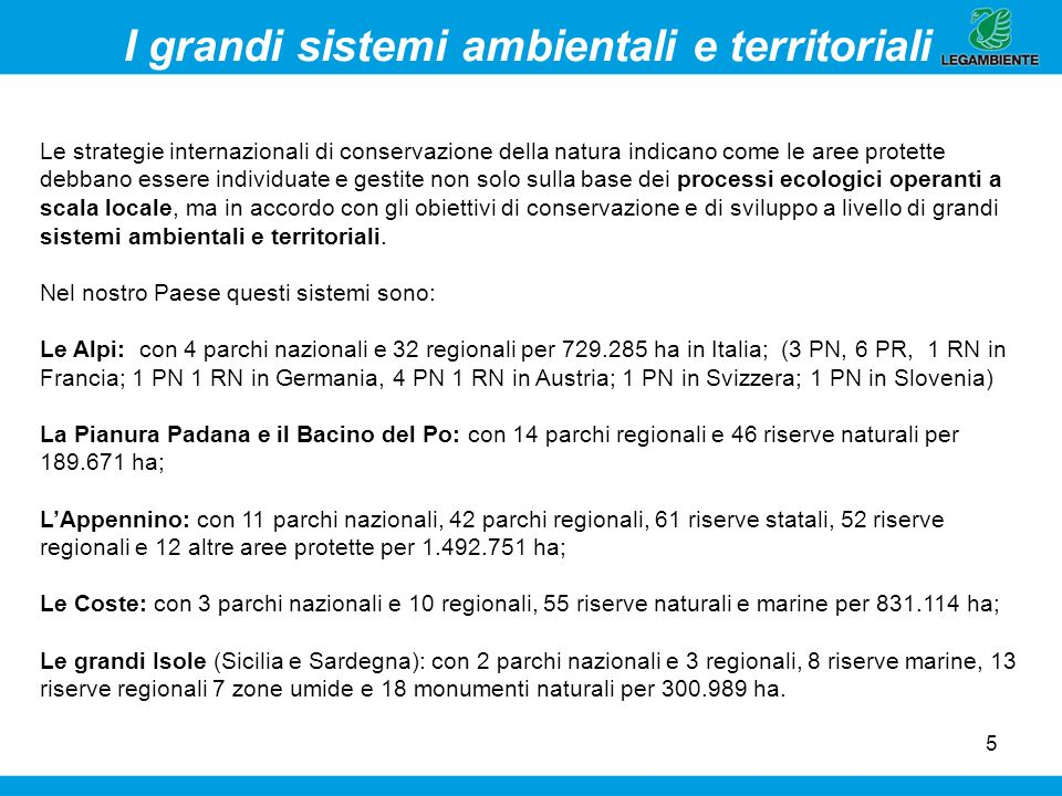 I grandi sistemi ambientali e territoriali