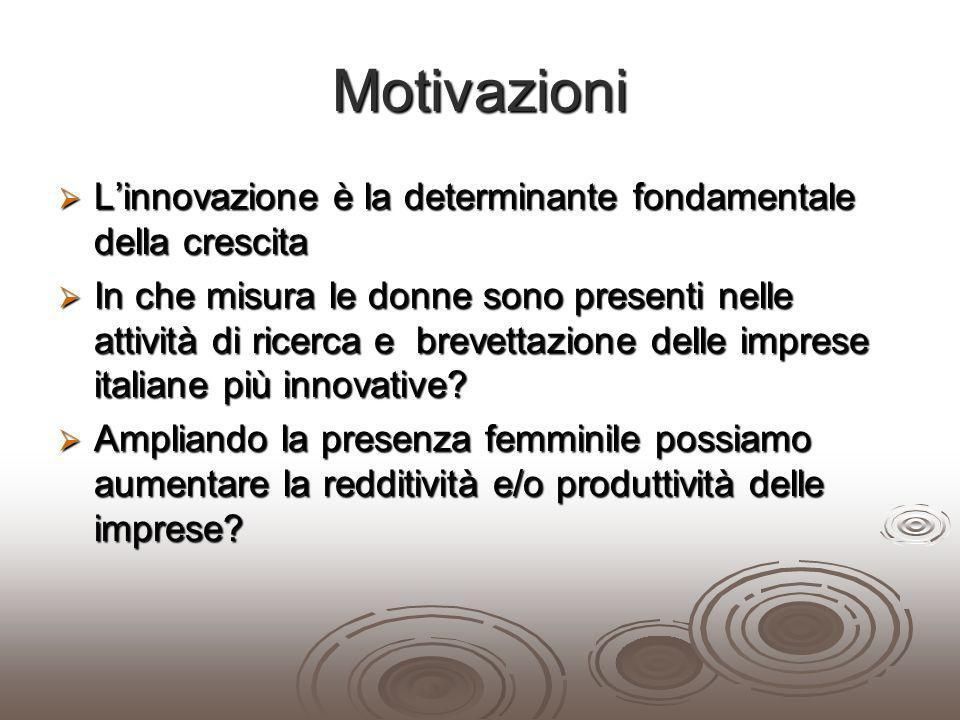 Motivazioni L'innovazione è la determinante fondamentale della crescita.